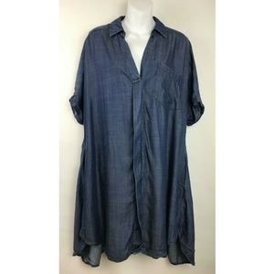 Easel Blue Short Roll Tab Sleeve Button Front Top